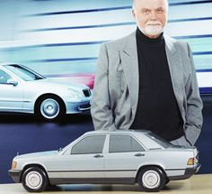 Bruno Sacco with his masterpiece, the Baby-Benz.