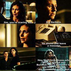 """""""It's Barbara"""" - Jim, Leslie and Barbara #Gotham"""
