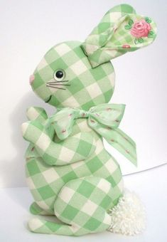 Bunny is made from a vintage pattern,, sewn in cotton fabric, and stuffed firmly with polyfil. He has safety eyes, with nose of pink felt and Bunny Crafts, Easter Crafts, Green Rabbit, Diy Ostern, Fabric Toys, Homemade Toys, Sewing Toys, Spring Crafts, Softies