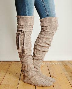 Alpine Thigh High Slouch Sock BARLEY BROWN by GraceandLaceCo