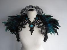 Feather Lace Stole Wrap Shrug Capelet Collar Turquoise Cyan Gothic Burlesque Bohemian. $64.00, via Etsy.
