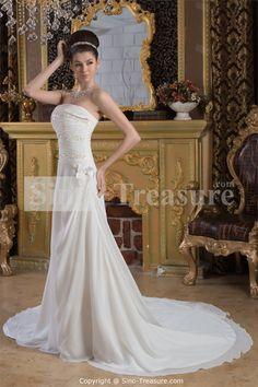White A-Line Strapless Court Train Lace Wedding Dress