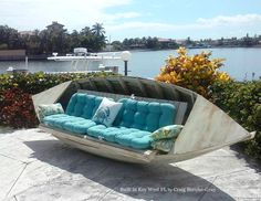 Outdoor Patio of a Key West Home with Boat Couch! Built by artisan Craig Berube-Gray: https://www.facebook.com/photo.php?fbid=10207913853274582&set=pcb.10207913863274832&type=3&theater