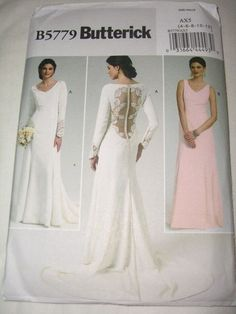 Butterick 6925 Sz 12-16 Bridal Gown/Wedding Dress Stole Sewing ...