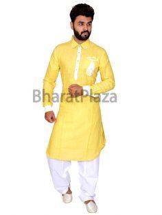 Yellow Pathani Suit Item code: SKB1015P http://www.bharatplaza.com/new-arrivals/kurta-pyjamas.html