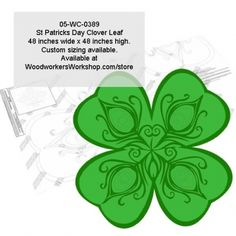 A stylized celebration of St Patricks Day with our 48 inch wide four leaf clover! Custom sizing available.