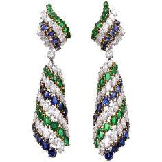 Harry Winston Emerald Sapphire Diamond Platinum Earrings (95 725 AUD) ❤ liked on Polyvore featuring jewelry, earrings, emerald diamond pendant, round diamond pendant, emerald pendant, sapphire diamond pendant and emerald diamond earrings
