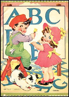 Brightly illustrated in bright color on every page with adorable little boys and girls in typical 40's style by ETHEL HAYS.