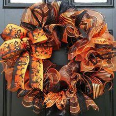 "HALLOWEEN HOLIDAY BOW WREATH DECO MESH RIBBON 24"" #Handmade"
