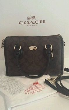 162aef39e6ba ... 50% off nwt coach signature mini bennet satchel f34084 im brown black  dust bag receipt