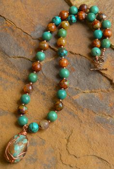 Natural Turquoise Copper Necklace