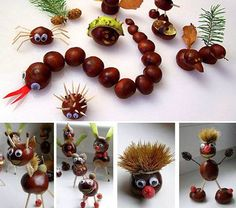 Schon bald fallen die Kastanien, Eicheln und Bucheckern von den Bäumen... Lustige Bastelideen für die Kinder! - DIY Bastelideen