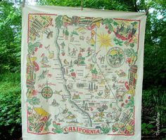 California Map Tablecloth 1950s Vintage Souvenir 45 by 49 Inches Cotton Souvenir