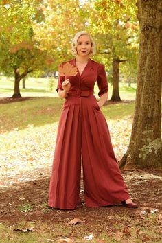 In this golden era of inspiration, you feel encouraged to sport this light burgundy jumpsuit by Miss Candyfloss. Inspirited by its gathered bust,. Burgundy Jumpsuit, Vintage Girls Dresses, Floor Length Dresses, Fashion Gallery, Modcloth, Vintage Fashion, Women's Fashion, My Style, Indie Style