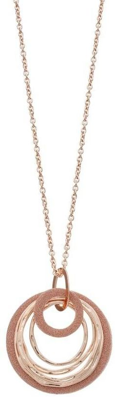 Long Glittery Concentric Circle Pendant Necklace