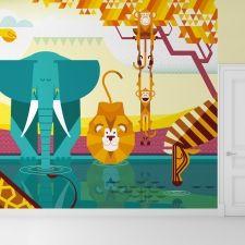 Mural Infantil Papel Pintado Selva Jungla - Mural de Pared Habitaciones Infantiles, Bébés y Niños, Mural a Medida, Gran Formato
