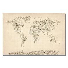 Michael Tompsett 'Music Note World Map' Canvas Art   Overstock.com