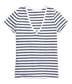 Jerseyshirt mit V-Ausschnitt | Weiss/Dunkelblau str | Damen | H&M AT