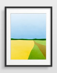 Large Abstract Landscape Art, Mid Century Modern Wall Art, Minimalist Art, Landscape Print the road to greener places Modern Art Paintings, Modern Art Prints, Modern Wall Art, Wall Art Prints, Mid-century Modern, Landscape Prints, Abstract Landscape, Landscape Paintings, Landscape Edging
