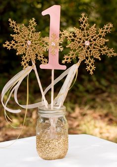 Winter Onederland Pink and Gold Centerpiece Snowflake Wands Table Decoration