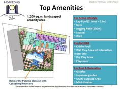 Amenities  Get the perfect balance of fast-paced and leisurely lifestyle with these top amenities available for you and your loved ones to enjoy…  Lap Pool Kiddie Pool Gazebo Covered Deck Mini Theatre Play Room Fitness Gym Multi-purpose Hall Indoor Game Room Commercial Area