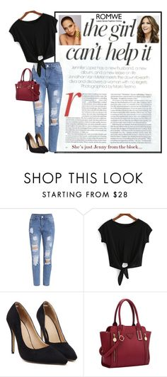 """ROMWE: Knotted Black T-shirt"" by rmhodgdon ❤ liked on Polyvore featuring Jennifer Lopez and romwe"