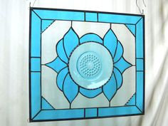 Stained Glass Plate Panel Depression Glass by HeritageDishes, $125.00