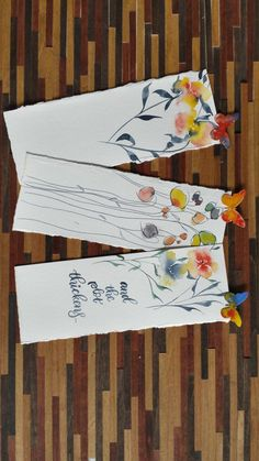Hand Made, One of a Kind Bookmarks for your favorite books! For personalized lettering please message me. Canson 140lb Cold Press Watercolor Paper Each Item is unique 7.5 x 2.75 (roughly) Rough edges Orginal and unique Butterfly detail