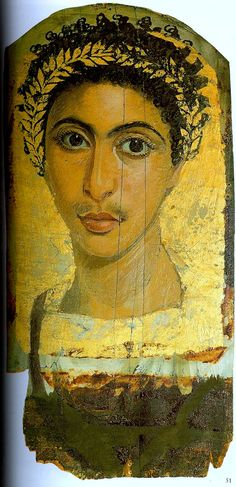 Young man with gold leaf wreath and background. Fayum. c. 138-192 AD. Aegyptisches Museum, Berlin.