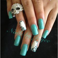 Cheetah print  Teal nail polish