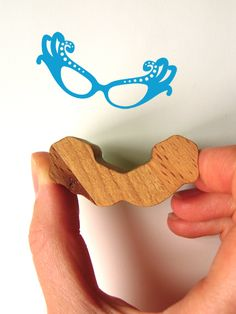 Wooden Handled Glasses Rubber Stamp | wowthankyou.co.uk  £9.95