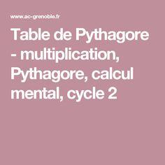 Table de Pythagore - multiplication, Pythagore, calcul mental, cycle 2