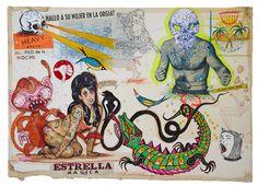 Toño Camuñas recupera postales vintage y estampas eróticas japonesas, recubre los sensuales cuerpos con tatuajes de calaveras, símbolos ocultistas y parafernalia de tribu urbana.