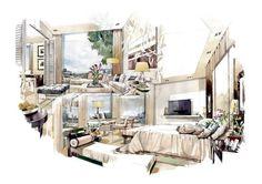 Interior Facebok: 99perspective Interior Design Videos, Interior Design Renderings, Drawing Interior, Interior Rendering, Interior Sketch, Interior Architecture, Interior And Exterior, House Design Drawing, Architecture Drawing Sketchbooks