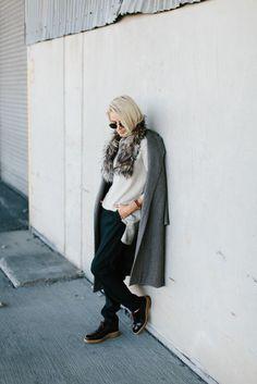 Winter is Going Cream V neck sweater pinstripe trousers pants oversized grey coat faux fur stole rayban round sunglasses // Charleston Fashion Blogger Dannon Like The Yogurt