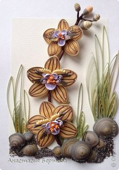 Картина панно рисунок Квиллинг Цветы на камнях Бумажные полосы Проволока Продукты пищевые фото 1
