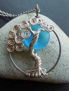 Sky Blue Moon Sterling Silver Tree Necklace-Full Moon-Fantasy. $65.00, via Etsy.