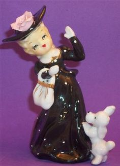 Lefton Victorian Girl Big Hat with Poodle