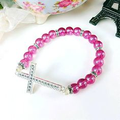 Only $8.15!! - Inspirational Silver Rhinestone Cross Stretch Bracelet, Shimmering Magenta Pink Beaded Stretch Bracelet, Deep Pink & Silver Bejeweled Cross Bracelet, Silver Crystal Gemstone Cross Bracelet, Silver Rhinestone Spacer Disks, Christian Jewelry, Motivational Cross Bracelet, Huge Etsy Shop Sale, Gifts For Her Under $10 - FREE USA SHIPPING https://www.etsy.com/listing/579314998/silver-rhinestone-cross-stretch-bracelet