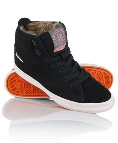 Superdry women's Super Crampon boots. A classic high-top design boot with a concealed heel wedge, featuring a textile tongue with a Superdry logo patch, part faux fur lining, webbing heel detail and finished with a Superdry heel logo and a Superdry logo tab on the ankle.