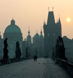 prague.  This bridge during the day is filled with artist/vendors.  Beautiful.