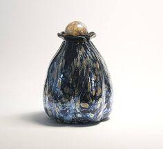 Hand-blown art glass vase, cremation urn for pets, humans, dogs, cats, exotic  pet memorials. TomMichael.com