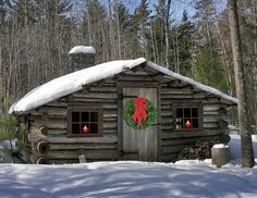 tiny little cabin all ready for Christmas.  Love it!