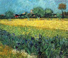Vincent van Gogh,   View of Arles with Irises, 1888-世界名画-梵高