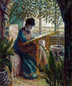 Claude Monet - Madame Monet Embroidering, 1875