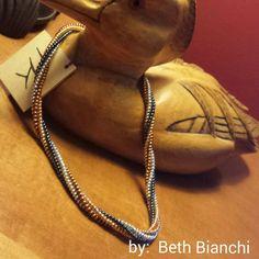 Herringbone necklace by Beth Bianchi of Bead Rock #beadingbabesofdurham #bethbianchi #beadrock #beadclasses