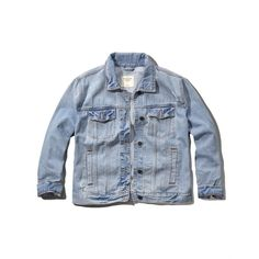 Abercrombie & Fitch Oversized Boyfriend Denim Jacket (54 CAD) ❤ liked on Polyvore featuring outerwear, jackets, light wash, oversized denim jacket, denim jacket, boyfriend jean jacket, oversized jacket and blue jackets