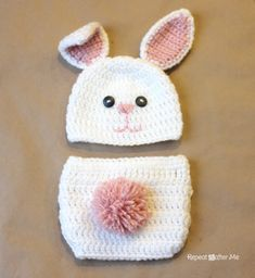 Free crochet pattern for the Bunny Hat by Repeat Crafter Me.