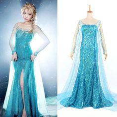 Hallow Christmas Frozen Queen Elsa Cosplay Dress Cosplay Costume Adult Lady  #Dress