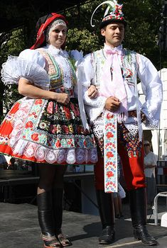 Europe | Portrait of a couple wearing traditional clothes, Czech Republic